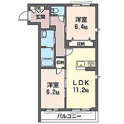 仮)中原区下小田中3丁目シャーメゾン[2階]の間取り