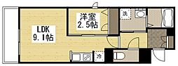 JR山陽本線 福山駅 徒歩21分の賃貸マンション 2階1LDKの間取り