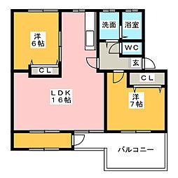 猪子石南住宅8号棟[4階]の間取り