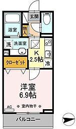 JR奥羽本線 山形駅 幸町下車 徒歩2分の賃貸アパート 3階1Kの間取り