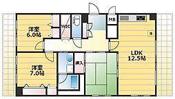 JR大阪環状線 福島駅 徒歩15分の賃貸マンション 5階3LDKの間取り