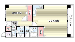 大阪府豊中市末広町1丁目の賃貸マンションの間取り