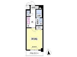 JR鹿児島本線 九州工大前駅 徒歩3分の賃貸マンション 3階1Kの間取り