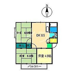 羽方ハイツ2[1階]の間取り