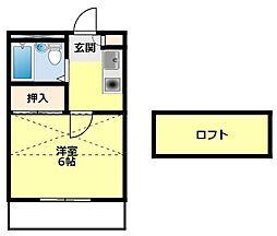 名鉄三河線 梅坪駅 徒歩8分の賃貸アパート 2階ワンルームの間取り