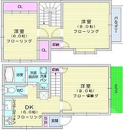 JR東北本線 南仙台駅 4kmの賃貸一戸建て 1階3DKの間取り