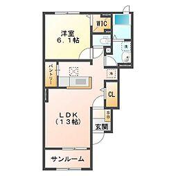 サニーハイツSEINAI Ⅱ[1階]の間取り