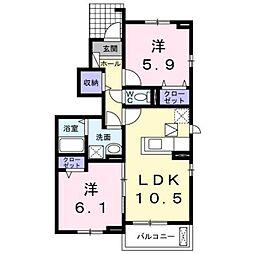 JR豊肥本線 光の森駅 4.3kmの賃貸アパート 1階2LDKの間取り