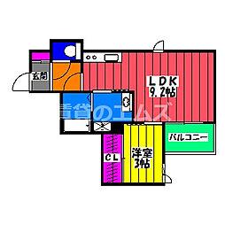 JR鹿児島本線 笹原駅 徒歩25分の賃貸アパート 3階1LDKの間取り