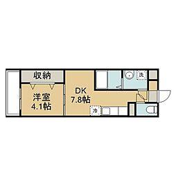 JR久大本線 南大分駅 徒歩3分の賃貸マンション 1階1DKの間取り