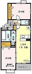 埼玉県吉川市中曽根2丁目の賃貸アパートの間取り