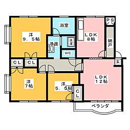 八雲マンション E棟[3階]の間取り