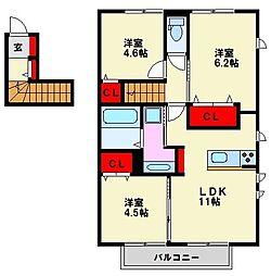 D-room花畑 参番館[2階]の間取り