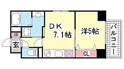 JEUNESSE北野[4B号室]の間取り