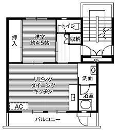 ビレッジハウス大穂1号棟5階Fの間取り画像