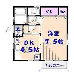 山崎コーポII[1階]の間取り