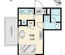 東急世田谷線 上町駅 徒歩1分の賃貸マンション 3階1Kの間取り