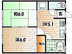 和気第一アパート[1階]の間取り