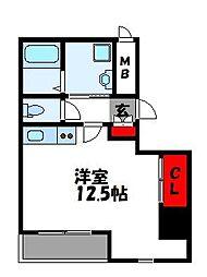 LUXE ONE 3階ワンルームの間取り