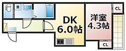 仮称:ハーモニーテラス新今里七丁目 3階1DKの間取り