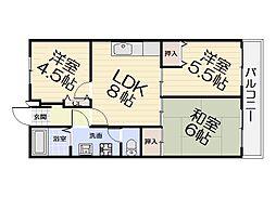 大阪府堺市西区上野芝町4丁の賃貸アパートの間取り