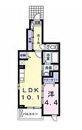 Marushin House II (丸信ハウス2) 1階1LDKの間取り