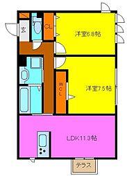 d−room玉串町西[3階]の間取り