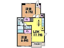 愛媛県松山市来住町の賃貸アパートの間取り