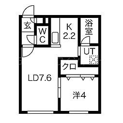 Chambre宮の沢 4階1LDKの間取り