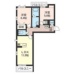 カーサ ピアチェボーレ II[2階]の間取り