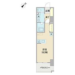 ENDO B.L.D.G 3 9階ワンルームの間取り