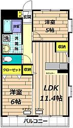東京都日野市万願寺5丁目の賃貸マンションの間取り