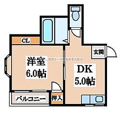 ペントハウス三箇[1階]の間取り