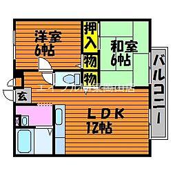 岡山県瀬戸内市長船町飯井の賃貸アパートの間取り
