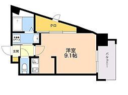 ALFACIO DIFOND 2階ワンルームの間取り