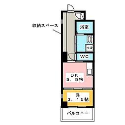 MIMOZA TERRACE 2階1DKの間取り