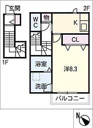 仮)平戸橋町T様アパート 2階1Kの間取り