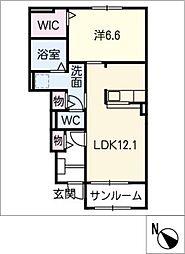 プラシード A棟[1階]の間取り
