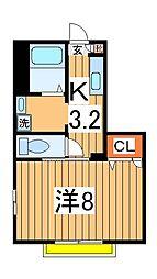 クレセントハウス吉岡[202号室]の間取り