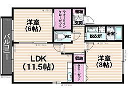 ルミエール藤 B棟[2階]の間取り