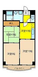 東京メトロ東西線 葛西駅 徒歩26分の賃貸マンション 5階3Kの間取り