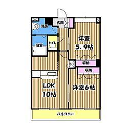 東京都武蔵村山市榎3丁目の賃貸マンションの間取り