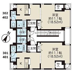 M HOUSE[401号室]の間取り