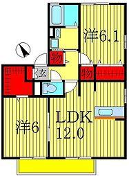 千葉県松戸市秋山3丁目の賃貸アパートの間取り