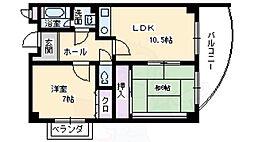 阪急千里線 南千里駅 バス15分 竹谷下車 徒歩1分の賃貸マンション 4階2LDKの間取り