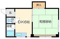 ニューコバヤシマンション 4階1DKの間取り