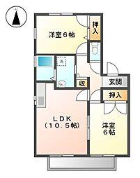 愛知県丹羽郡大口町余野3丁目の賃貸アパートの間取り