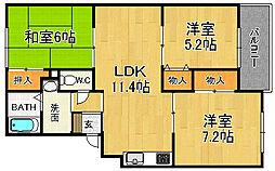 兵庫県宝塚市宝松苑の賃貸アパートの間取り