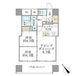 西武池袋線 東長崎駅 徒歩1分の賃貸マンション 8階2LDKの間取り