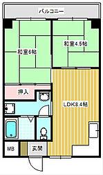 プランドール住之江[3階]の間取り